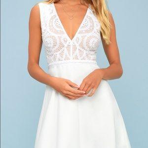 Lulus white crochet lace skater dress
